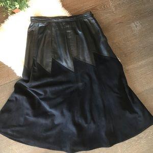 Vintage leather & faux suede black midi skirt